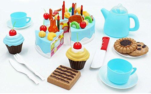 Yonala Play Food Set Kids Gift Birthday Cake With Cutting Knife Tea Pot And Cups