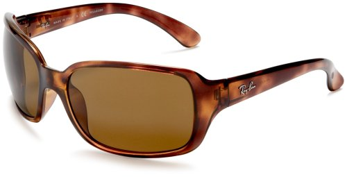Ray-Ban Women's RB4068 Square Sunglasses, Tortoise/Polarized Crystal Brown, 60 ()