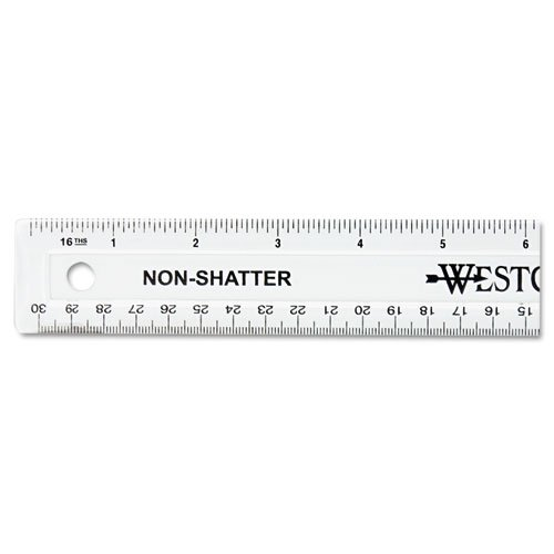 Westcott Non-Shatter Ruler, Clear, 12 Inches,(13862) (Clear Plastic Ruler)