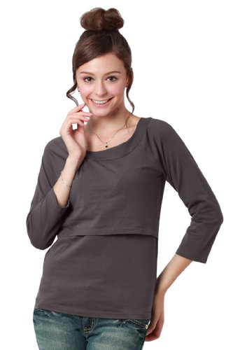 Sweet Mommy maternidad y lactancia camiseta de manga tres cuartos Shirt gris oscuro