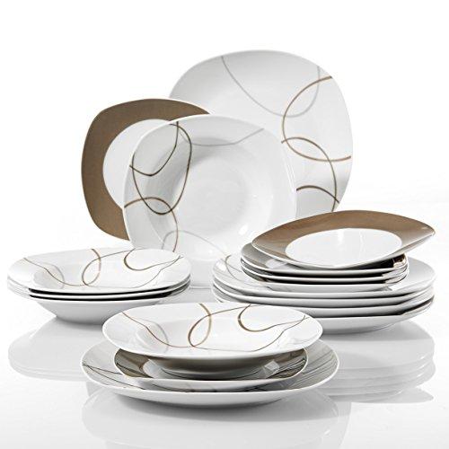 VEWEET 'NIKITA' 18-Piece Ivory Porcelain Brown Line