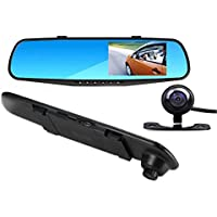 4.3 inch LCD HD 1080P Dash Cam | Car Video Camera | driving recorder with Dual Lens for Vehicles Front & Rearview Mirror | DVR Vehicles with 170-degree Wide Angle Lens and G-Sensor for Auto-Recording