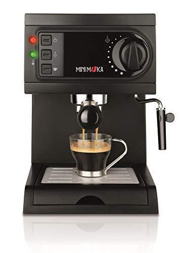 Mini Moka 999322000 Cafetera Espreso 15 Bar / 1050 W / 1,25 L, 5.283441 cups, Acero inoxidable, Negro