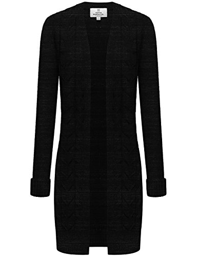FPT Womens Longline Open Knit Cardigan BLACK CHARCOAL LARGE
