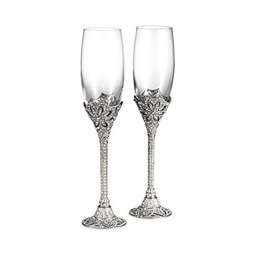 WINDSOR CHAMPAGNE FLUTES 7oz pair by Olivia Riegel - Rhinestone Champagne Flutes