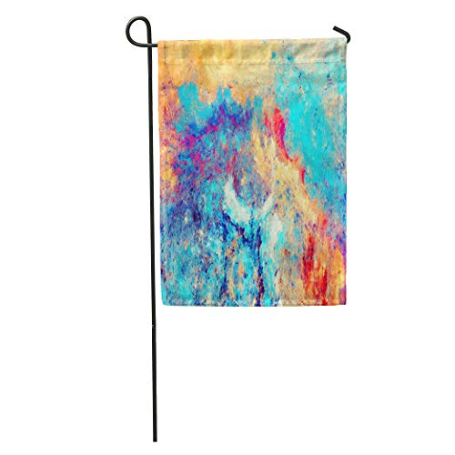 Semtomn Garden Flag Sea Wave and Sand Artistic Splashes of Bright Paints Abstract Home Yard House Decor Barnner Outdoor Stand 12x18 Inches Flag