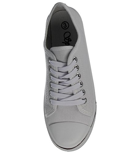 Ladies Baltimore/ Academy Low Hi Top Canvas Toe Cap Lace Up Pumps Plimsoll All Star Trainers Casual Shoes Size 13-8 White BAn0F6fbH