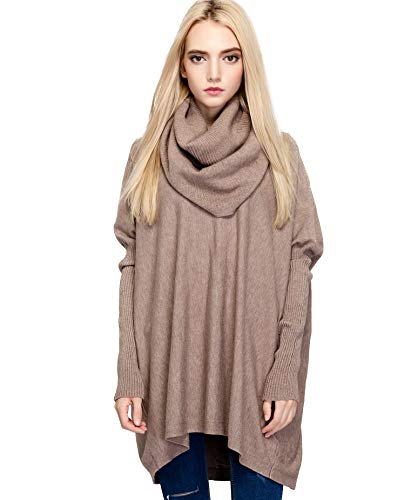 Woo Spotlight Womens Sweaters Cowl Neck Turtleneck Oversized Loose Batwing Knit Pullover (Khaki)