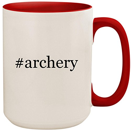 - #archery - 15oz Ceramic Colored Inside and Handle Coffee Mug Cup, Red