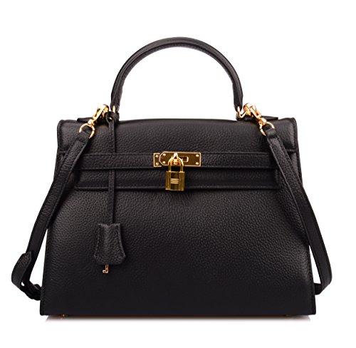 Ainifeel Women's Padlock 32cm Shoulder Handbags (Black) by Ainifeel