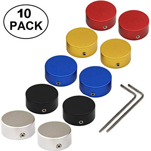 "SOLUTEK ?23mm Guitar Pedal Footswitch Topper with Rubber Insert for use on common 3/8""10mm switches 10pcs Red+Silver+Black+Gold+Blue"