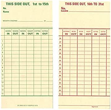 1000 ct Time Cards Consecutive 4 3//16 x 9.00 FORM 5541 TCS