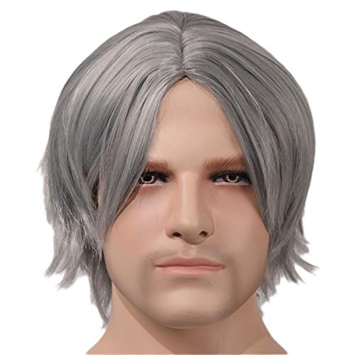 (Devil May Cry 5 Dante Cosplay Costume Wig Game Role Grey Silver Hair for Men)