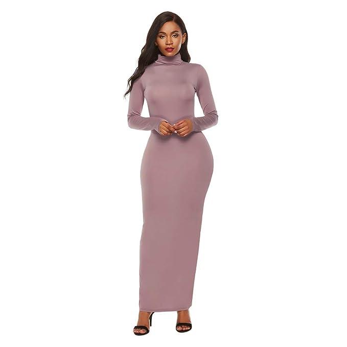 premium selection 05a7c 7a7ba URSING Damen Elegante Kleider Einfarbig Retro Slim langes ...
