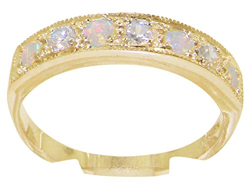 LetsBuyGold Solid 10k .417 Yellow Gold Natural Diamond and Opal Womens Band Ring (0.16 cttw, H-I Color, I2-I3 -