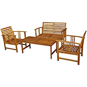 Outdoor Patio Furniture Conversation Sets, Acacia Wood Table 2 Chair 1 Bench