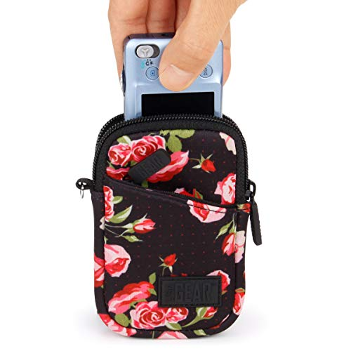 USA GEAR Compact Point & Shoot Camera Case Bag - Compatible w/Canon PowerShot ELPH 180/190 is / G9X Mark II, Nikon Coolpix A300, Sony Cybershot DSC-W830 / DSC-RX100 / DSC-WX220 & More - Floral