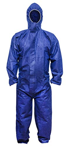 ABC Blue SMS Coverall M size. Hood, Elastic Cuffs, Ankles, Waist. Chemical Protective Coveralls. Unisex Disposable Workwear for cleaning, painting, manufacturing. Lightweight, Breathable. ()