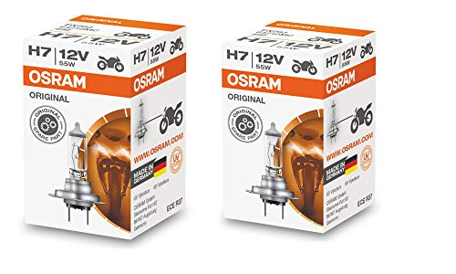 Osram H7 Halogen Headlight Bulbs 64210L 12V 55W Made In Germany 2 Piece Set (Headlight White Plus Bulbs)