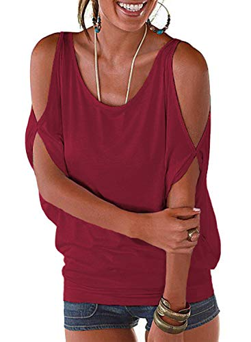 Juniors Hollow Out Cutout Shoulder Tees Tunic Solid Sexy Party Blouse Tops(Wine Red, S) ()