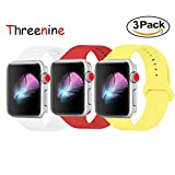 Threenine for Apple Watch Band, Durable Soft Silicone iWatch Strap Replacement Sport Band for Apple Watch Band Series 4 Series 3 Series 2 Series 1 Sport, Edition (White,Red+, 38mm S/M=40mm S/M)