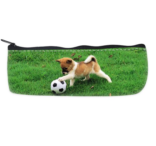 COLORSFORU Romantic Simple animal lovely puppy dog baby soccer in green playground Custom Pencil Case by Romantic Simple