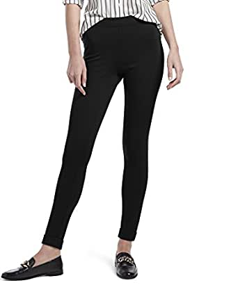 HUE Women's Fleece Lined High Waist Ponte Legging - black - X-Small