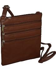 London Stitch Women's Genuine Leather Multi Pocket Crossbody Bag
