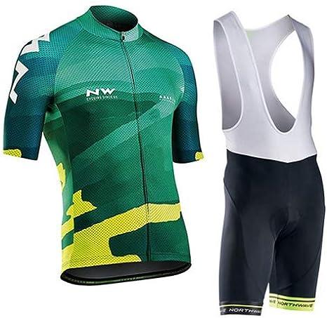 Hplights Conjunto De Ropa De Ciclismo para Hombre, Camisa De Manga Corta Transpirable para Bicicleta + 9D Pantalones Cortos De Montar Acolchados Pantalones: Amazon.es: Deportes y aire libre