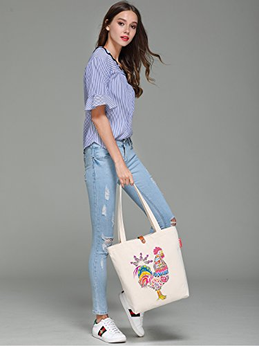 So'each Women's Azgtec Cock Graphic Top Handle Canvas Tote Shoulder Bag