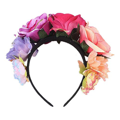 Lijuan Qin Frida Kahlo Mexican Flower Crown Headband, Floral Crown Garland Headpiece, Flower Wreath Headband for Flower Wreath -