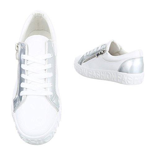 Damen Freizeitschuhe Schuhe Sportschuhe Turnschuhe Sneaker Laufschuhe Schwarz Weiß 36 37 38 39 40 41 Modell Nr1 Weiß