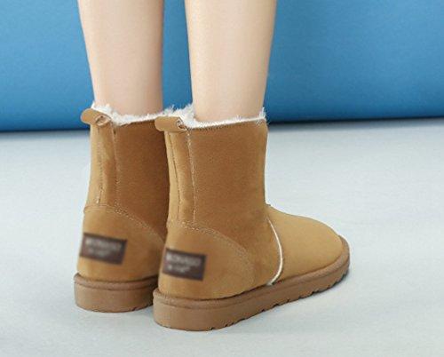Baymate Mujer Invierno Botines Calentar Botas De Nieve Suave Anti-deslizante Zapatos Botas de Trabajo camello