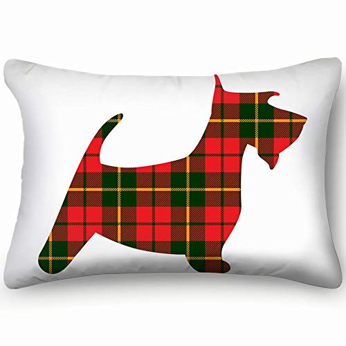 X-Large Scotch Terrier Tartan Plaid Red Animals Wildlife Queen Rectangle Decorative Pillowcases Print Zippered Throw Pillow Covers Cases Two Sided 20 X 30 Inch