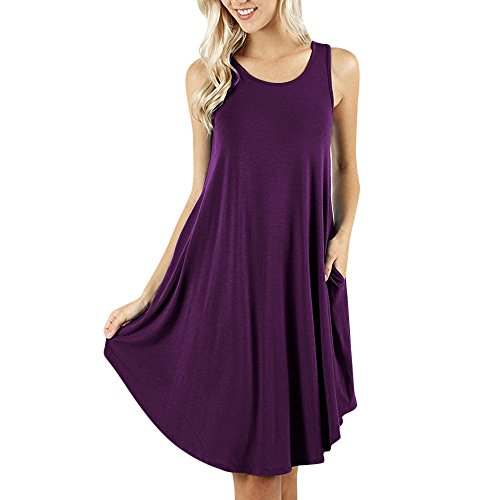 Clearance Sale! Wintialy Women's Sleeveless Dress Pockets Casual Swing T-Shirt Dresses Please Check The