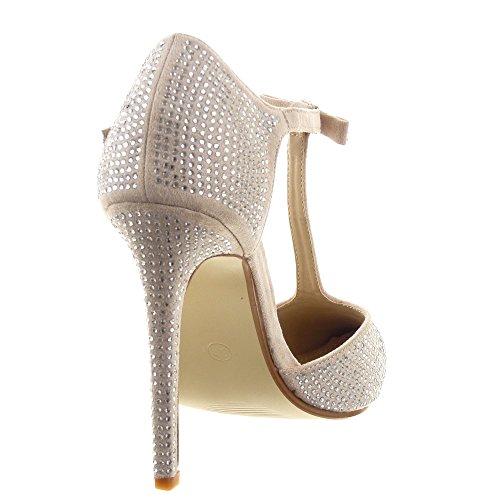 ... Sopily - damen Mode Schuhe Pumpe Sandalen Stiletto T-Spange glänzende  Strass fliege - Gold