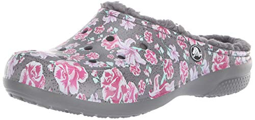 Crocs Women's Freesail Floral Lined Clog, Multi Slate Grey, 7 M US