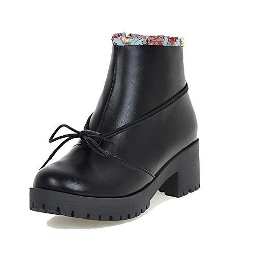 AgooLar Women's Solid Blend Materials Kitten-Heels Zipper Round Closed Toe Boots Black EOnxo