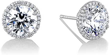 18K White Gold Over Sterling Silver Cubic Zirconia 5mm or 7mm Stud Post Earring