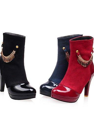 A Cn38 Puntiagudos Azul Negro Xzz us6 us7 Uk4 De Uk5 Eu38 Semicuero Botas Mujer Moda 5 Vestido Casual Tacón Red Cono Rojo La 5 Zapatos Cn36 Eu36 Black wBfqw0