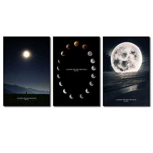 Cairnsi 3 Pieces Canvas Prints Wall Art Paintings Lunar Eclipse on The Sea Modern Full Moon Pictures Stretched and Framed Ready to Hang for Wall Decor - 12