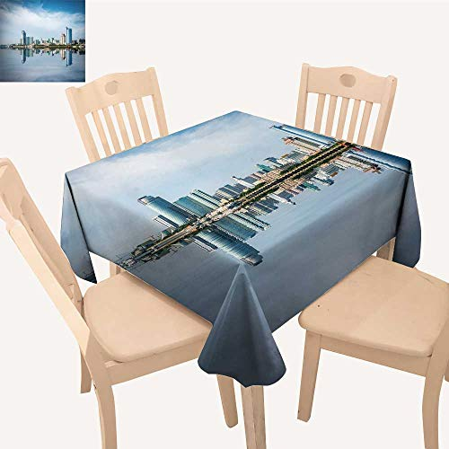 UHOO2018 Spillproof Fabric Tablecloth Xiamen Skyline Reflection Coastal City China Square/Rectangle Washable Polyester,50x - China Rectangle Magnet