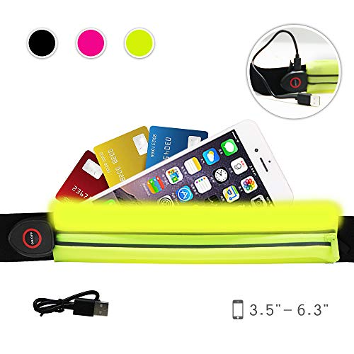 """NORYER Running Belt with LED Safety Light - Adjustable Slim Waist Pack Fanny Bag with an Expandable Pocket - Compatible with Smart Phones up to 5.5"""" (Green)"""