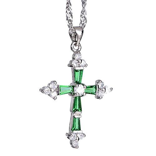 Emerald Round Cross - RIZILIA Cross Pendant with 18