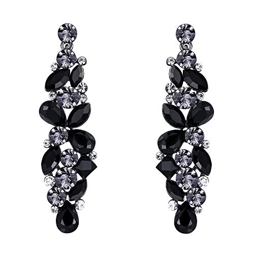 - EVER FAITH Tear Drop Flower Cluster Dangle Earrings Jet Color Austrian Crystals Black-Tone
