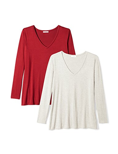 Daily Ritual Women's Plus Size Jersey Long-Sleeve V-Neck T-Shirt, 2-Pack, 5X, Light Heather Grey/Deep Red