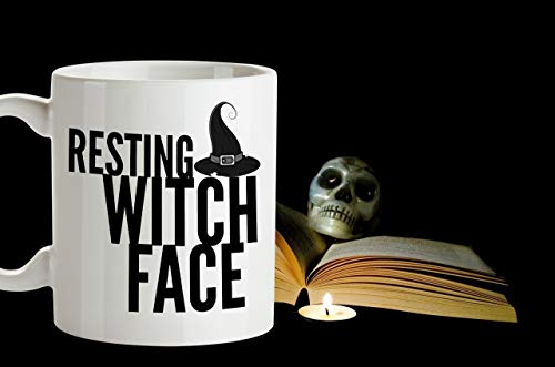 (RESTING WITCH FACE Funny Halloween Witch Mug Witches Cup Witch Quote Office Gag Gift Halloween Coffee Cup Holiday Mug Witch Hat)