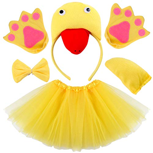 Kids Animal Costume Ears Headband Glove Bowtie Tail Tutu Set Fancy Dress Up Outfit Birthday Party Cosplay Halloween Costume for Girls (Duck)