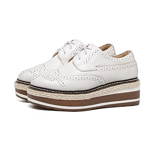 Womens Platform Fashion British style Sneakers Mid Heel Casual Lace Up Shoes White v6XmS