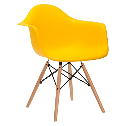 Poly and Bark Eames Style Molded Plastic Dowel-Leg Armchair with Natural Legs, Yellow